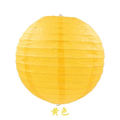 Süßigkeit Kostüm Gruppe - TTYAC 4-16inch (10-40cm) Chinesische Papierlaterne Runde Lampe Festival Lampion Hochzeit Glim Lampen Partydekorationen Halloween Laternen, gelb, 10inch 25cm