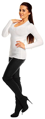 Zeta Ville - Damen Basic Feinstrick Pullover Oberteil Top langen Ärmeln - 906z Weiß