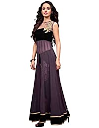 Radhey Arts Purple and black georgette embroidered semistitched salwar with dupatta