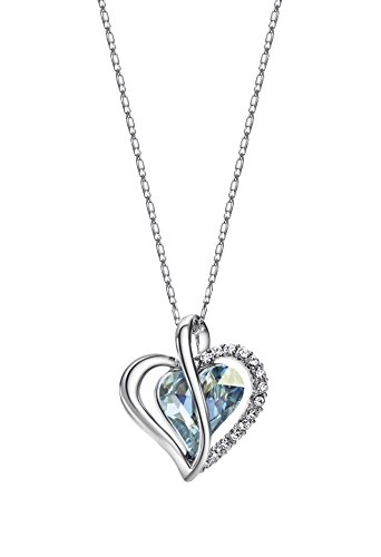 Wearyourfashion Blue Swarovski Elements Platinum Plated Heart Pendant Necklace for Women