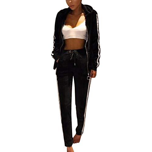 Fantasy Closet Frauen Damen Mode Trainingsanzug Streifen Zweiteilige Jogginganzug Lange Ärmel Zipper Top Lange Hose (Schwarz,XXXL)