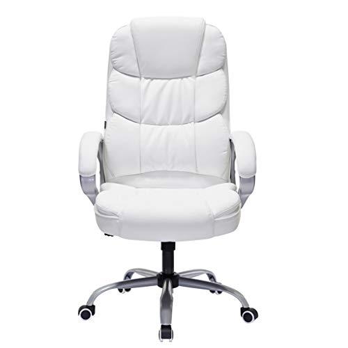 Schreibtischstühle Bürostuhl Computer Stuhl Bürostuhl Home Seat E-Sports Spiel Stuhl Boss Stuhl Swivel Sitzkissen Eingebauter Frühling, Super Gewicht Lager (Color : Weiß, Size : 70 * 70 * 122cm) -