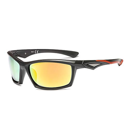 Suertree JH6002 Polarisierte Sport-Sonnenbrille, modisch, winddicht, für Herren, Orange (Black Frame Orange Mirror), Medium