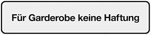 """Metafranc Klebeschild """"Für Garderobe keine Haftung"""" - 200 x 48 mm / Beschilderung / Infoschild / Türschild / Gewerbekennzeichnung / Garderobeninfo / Haftungsausschluss / 504060"""