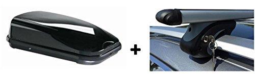 Dachbox schwarz VDP JUFL 320 Liter + Alu-Relingträger Set abschließbar -005-120_duster