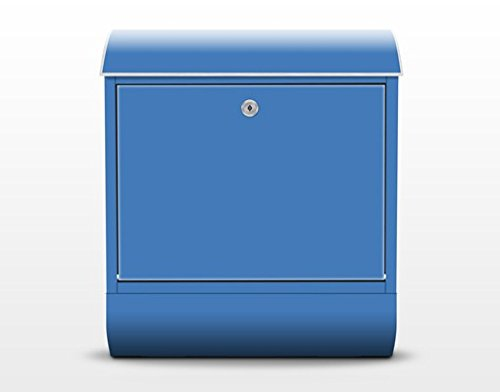 Design Briefkasten Colour Royal Blue | Farbe Pop Art Blau Kunst Muster, Postkasten mit Zeitungsrolle, Wandbriefkasten, Mailbox, Letterbox, Briefkastenanlage, Dekorfolie -