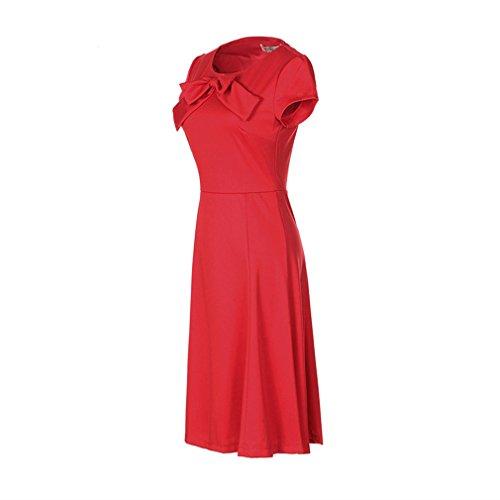 La Vogue Robe Midi Femme Cravate Manche Courte Plissé Taille Haut Tunique Été Rouge