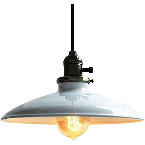 Lightess Lampada a Sospensione da Soffitto, Modello Vintage Industriale, Attacco E27, Plafoniera in Metallo Colore Bianco