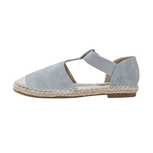 YEARNLY Damen vintage Espadrille Plateau Sandalen Keilabsatz Sandalen Flache Schuhe Braun, Blau, Pink 35-43