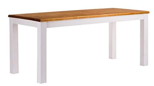 Brasilmöbel Esstisch Rio Classico 160x80 cm Honig Weiß Holz Tisch Pinie Massivholz Esszimmertisch Küchentisch Echtholz Größe und Farbe wählbar ausziehbar vorgerichtet für Ansteckplatten