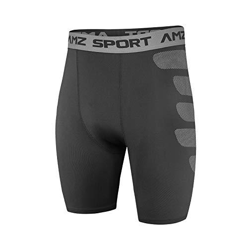 AMZSPORT Herren Kompressionsshorts Sport Shorts Kurze Hose Schnell Trocknend Funktionsunterwäsche, Schwarz XXL