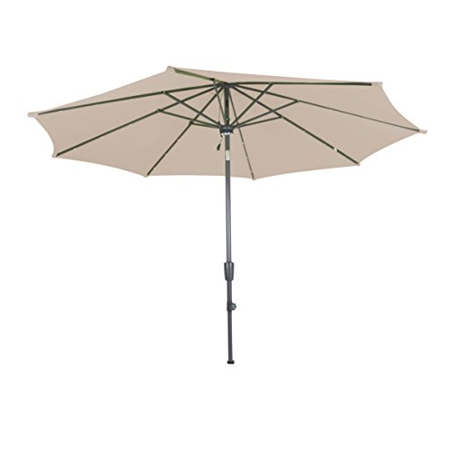 greemotion Sonnenschirm 120218, sand-farbener Solarschirm, mit LEDs im Schirmdach, Sommerschirm mit Kurbel zum Aufspannen, der Strandschirm hat eine Auto-Knickfunktion, der Balkonschirm ist höhenverstellbar und besteht aus Stahl und Polyester, die Maße des Marktschirms betragen ca. Ø 300 cm