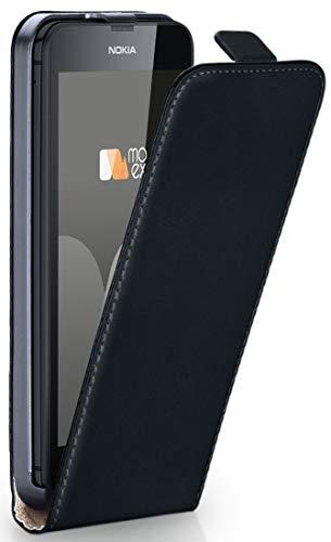 Cover OneFlow per Nokia Lumia 630/635 Custodia con magnete | Flip Case Astuccio Cover per cellulare apribile | Custodia cellulare Cellulare protezione Paraurti Cover rotettiva con guscio DEEP-BLACK