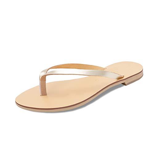 Schmick Luca Damen Sandalen: Sommer Leder Flip Flops flach, Gr. 40, Gold Natural -