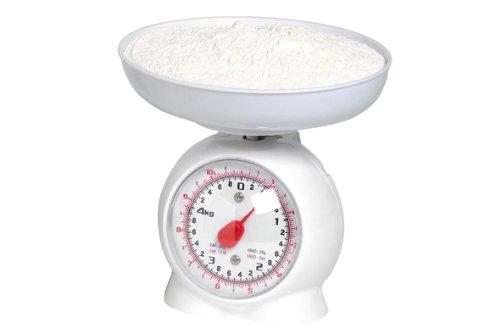 Küchenwaage analog Metall weiß / Kunststoff max. 3 kg. (BL13)