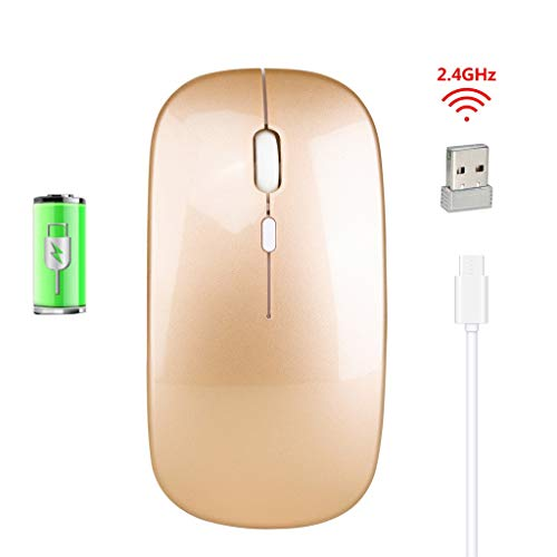 Yowablo Maus, Wiederaufladbare kabellose Maus Mute Silent Click Mini Geräuschlose optische Mäuse 2.4Ghz 800,1200,1600dpi für Heim,Büronutzung,Notebook,Computer,Laptop,Mac und Windows (Rose Gold)