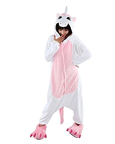 LATH.PIN Rosa Einhorn Pyjama Tieroutfit Tierkost¨¹me Schlafanzug Sleepsuit mit Kapuze Erwachsene Unisex Fleece-Overall