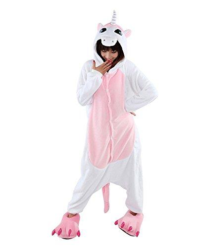 Moollyfox Adulte Unisexe Anime Animal Costume Cosplay Combinaison Pyjama Outfit Nuit Vêtements Onesie Fleece Halloween Costume Soirée de Déguisements(L, Rose-licorne)
