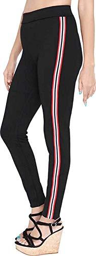 Helisha Ankle-Length Gym legging   Workout Trousers  High Waist Yoga Track Pants for Girls & Women (FREE-SIZE) 26-32 waist Size (WHITE-LINE) (Black with Black Stripes, Free Size(26-32 WAIST))