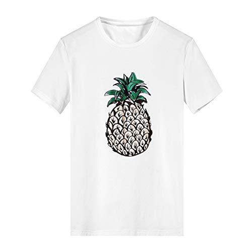 Selou Herren Kreative Kurze Shirts 3D Ananas Print Cartoon Top Bluse, Männer Comfort Fit Langarm Fit Freizeit Slim Fit Grosse Grössen Leinen Oversize Polo Hemd -