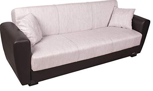 Enrico coveri contemporary divano letto 3 posti marrone, elegante con funzione letto in tessuto ed ecopelle, dimensioni: 220 x 85 x 85 cm