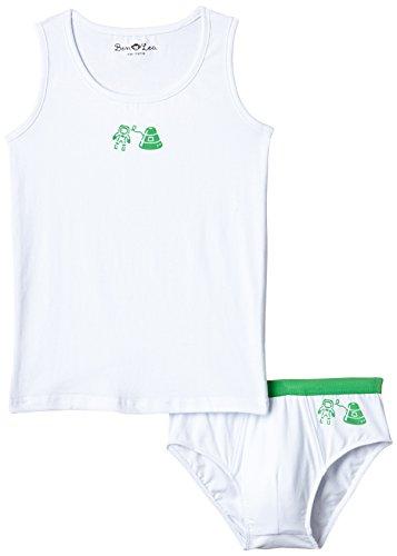 Ben & Lea Jungen Unterwäsche Set - Oberteil und Unterhose, Gr. 110 (Herstellergröße: 110/116), Mehrfarbig (weiß, grün) (Unterwäsche-set Jungen)