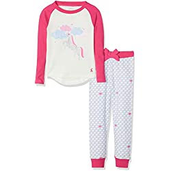 Joules Girl's Sleepwell Pyjama Sets, Off- Off-White (Cream Unicorn Cunicrn), Years (Size: 9-10)