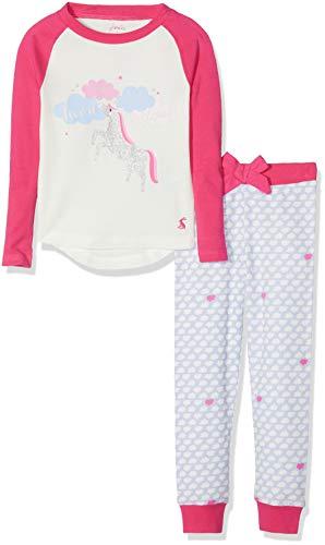 Joules Mädchen Zweiteiliger Schlafanzug Sleepwell, Elfenbein (Cream Unicorn Cunicrn), 60