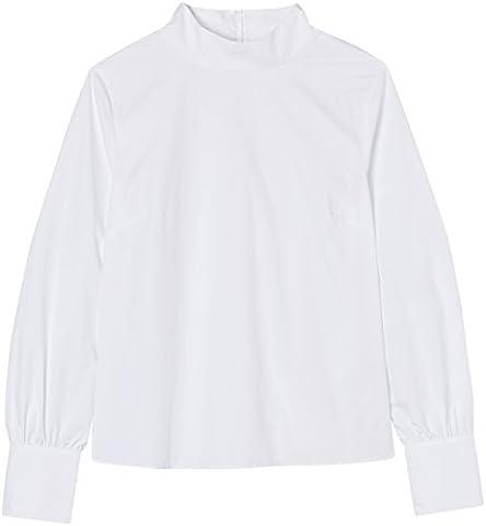 FIND Damen Poplinoberteil mit hohem Kragen Weiß, 44 (Herstellergröße: XX-Large)