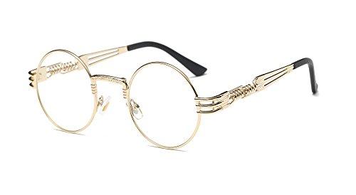 Dollger John Lennon Runde Metalle Rahmen Sonnenbrille Klassiker Steampunk Stil(Transparent Linse+Goldrahmen)