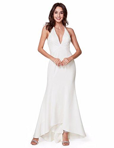 Ever-Pretty Robe de Soirée Femme Longue Col V Sexy Halter 38 Blanc