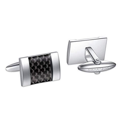 SMARTEON® Manschettenknöpfe für Herren | Carbon Herren Schmuck aus hochwertigem Edelstahl mit Kohlefaser in hoher Qualität | Elegante Cufflinks in einem edlen Geschenk-Set (Schwarz)