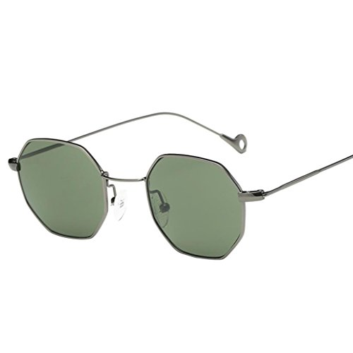 URSING Unisex Gläser Metallrahmen Aviator Sonnenbrille Transparent-e Linsen Frauen Herren Sommer Lässige Brille Klassisch Eyewear Damenbrillen Fashion Sunglasses (Grün)
