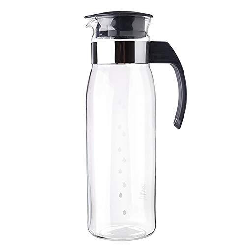 JANRON Wasserkaraffe Glaskaraffe Glaskrug aus Borosilikatglas Wasserkrug mit Edelstahl Deckel Karaffe Glaskanne für hausgemachten Saft und Eistee - 1.4L (7 Farben)