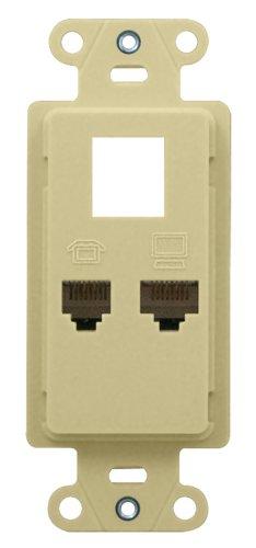 on-q wp1000iv PDP Telefon/Daten/Power Standard (Brustgurt 3P W/Daten) Light - Wall Plate Light Almond