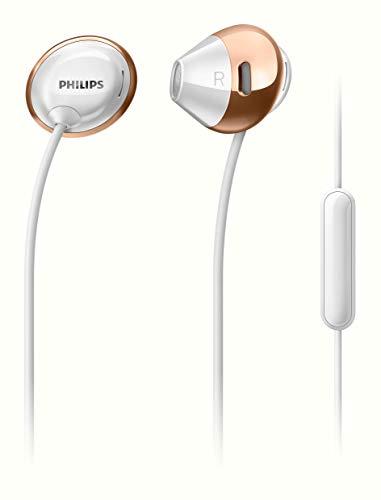 Philips Flite Hyprlite SHE4205WT Écouteurs Intra-Auriculaires avec Micro, Télécommande, Ultra-Fin et Léger, Blanc et Rose