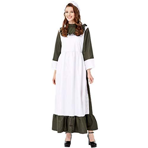 Kostüm Weiße Magierin - Halloween Kostüm Damen, Trachtenkleid Damen, Rock und Hut, Kleid Headwear Schürze Schal Plot Deutsch Oktoberfest, Anzug Karneval Fasching Weiß, M-XL