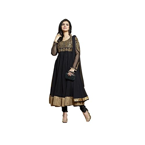 Muskaan Sarees Women's Georgette Black Embroidered Dress Material