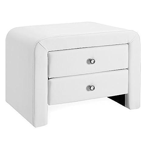 [Corium] coussins - table de nuit (blanc) (50cm x 38cm x 37cm) table de chevet avec 2 tiroirs et surface de dépose desserte commode chambre à coucher table