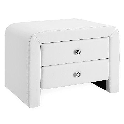 Corium Polster Nachttisch 50 x 38 x 37 cm Nachtkonsole mit 2 Schubladen Kunstleder Beistelltisch Kommode Schlafzimmer Weiß