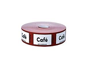CARTALOTO - Rollo de 1000 Etiquetas de café - Marrón, BITRCA09, Multicolor