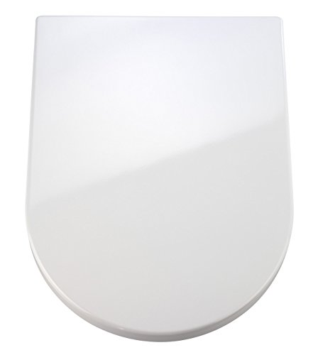 WENKO 18396100 Premium WC-Sitz Palma, Absenkautomatik, rostfreie Fix-Clip Hygiene Edelstahlbefestigung, Duroplast, 35,7 x 46,5 cm, weiß (Premium Wc-sitz)