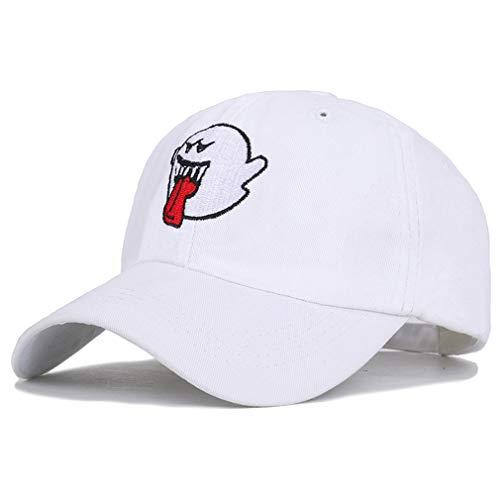 JKLGNN Dämon Baseball Cap Ghost Face Stickerei Hut atmungsaktiv Schirmmütze Hysteresenhut Reisen lässig Sport Hip Hop Rock Halloween Kleider 55-60cm,White -