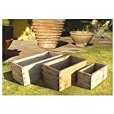 Intermas M100357 - Jardinera madera rectangular 60 x 30 x 30cm