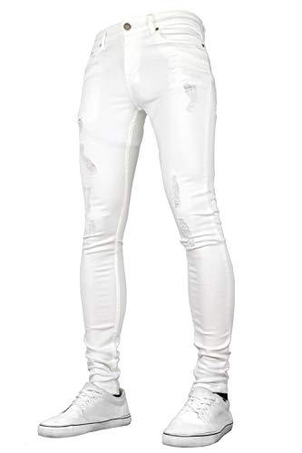 Sk-1 apparel - jeans da uomo super aderenti, elasticizzati, strappati e sbiaditi bianco w28 / l30