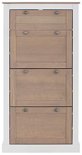 Loft 24 A/S Schuhkipper Schuhregal Schuhschrank Schuhkommode Landhaus Kiefer Holz Rattan Diele Flur (weiß und grau, 4 Klappen)