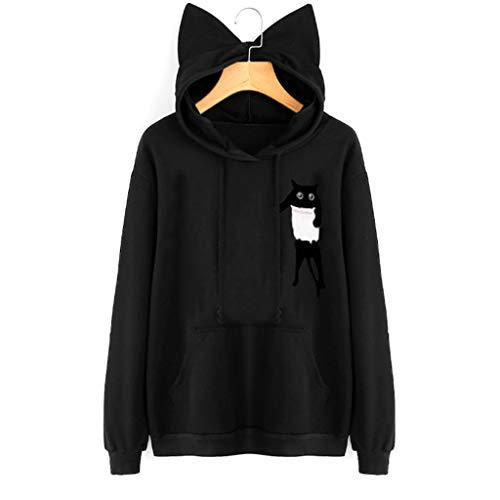 es Damen Sweatshirt mit Katzenohren und Kapuze Bedruckte Bluse mit kausalen Oberteilen Damenpullover mit Katzenohren-Aufdruck(Schwarz,S) ()