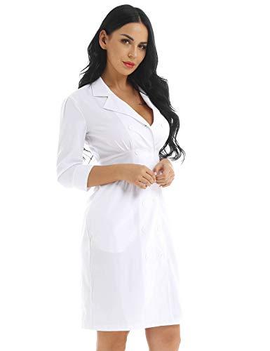 CHICTRY Damen Krankenschwester Kostüm Mini Kleid miit Kentkragen Dessous Babydoll Cosplay Kostüme Fasching Karneval Verkleidung Gr. S-XXXL Weiß Medium