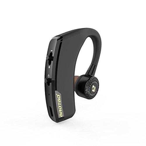 aROTaO Bluetooth Headset, Kabellose Bluetooth Ohrhörer In Ear Headsets Bluetooth Kopfhörer Freisprecheinrichtung mit Mikrofon für Apple iPhone, Samsung und Android Smartphones - Schwarz (Bluetooth 4.1, 300 Stunden Standby-Zeit)