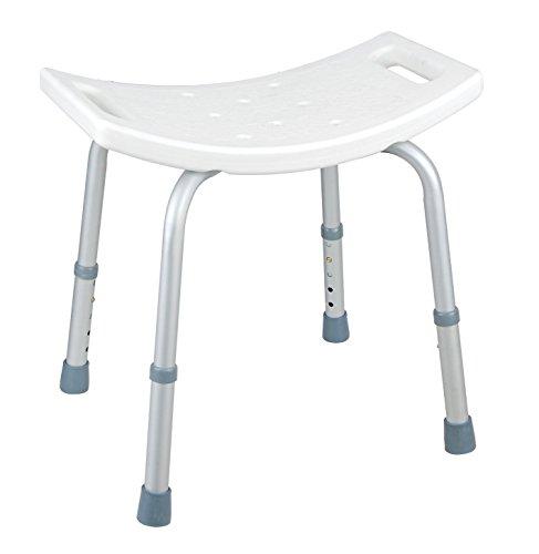 CM Baños BANQ01 - Banqueta para baño y ducha (ABS y aluminio) color blanco y gris brillante